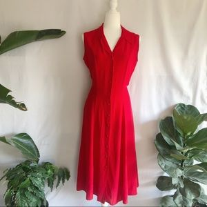 Vintage Givenchy Red Silk Button Front Midi Dress